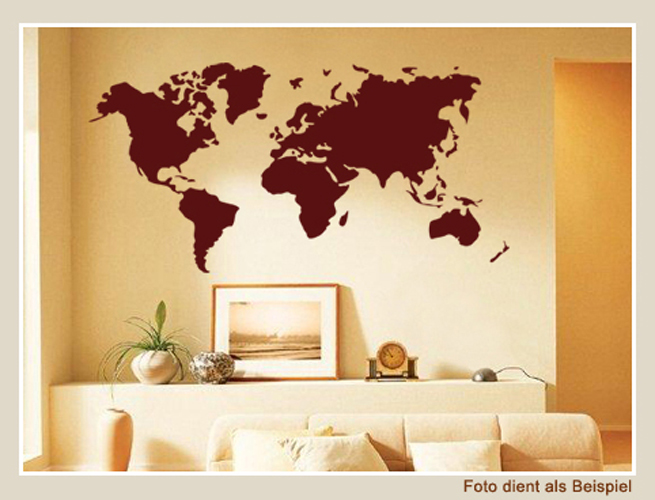 wall sticker wall decal deco mural world map world ebay. Black Bedroom Furniture Sets. Home Design Ideas