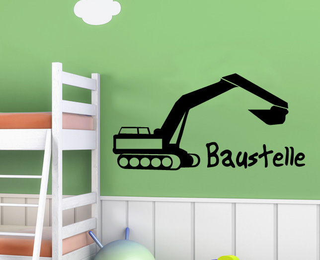 wandtattoo aufkleber tatoo kinderzimmer bagger baustelle wandtatoo fahrzeug deko ebay. Black Bedroom Furniture Sets. Home Design Ideas